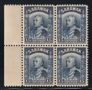 Sarawak SG 115a Scott 124 UMM/NH 1941 15c Blue Vyner Brooke Block of 4 SCV $39
