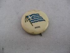 Sweet Caporal Cigarettes Antique COUNTRY FLAG Pin Pinback: GREECE FLAG