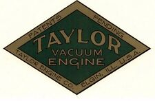 "Taylor Vaccum Engine Decal 5 x 3 1/4"" Gas Motor Flywheel Elgin Illinois Antique"