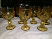 Six Gorgeous Vintage Franciscan Cabaret Yellow Glass Goblets ~ Lotus Shape