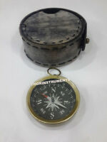 Nautical Brass Pocket Compass Marine Maritime With Black Leather Case