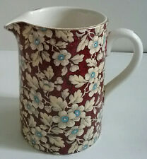 Royal Brocade Red Floral Chintz Pattern English HTF Small Pitcher Lord Nelson