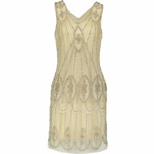New UK12 PISARRO NIGHTS Champagne 20's Gatsby Flapper Mesh Cocktail Dress Gown