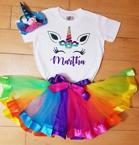 PERSONALISED NAME Unicorn Birthday Outfit Rainbow Tutu 1st 2nd 3rd 4th 5th 6th