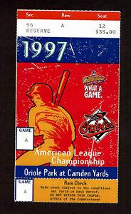 1997  ALCS GAME 1 TICKET STUB BALITMORE ORIOLES vs CLEVELAND INDIANS