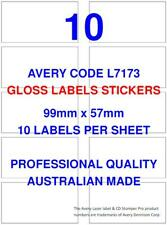 AVERY CODE L7173 GLOSS LABEL STICKERS 10 PER SHEET X 100 SHEETS SHIPPING POST