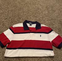 POLO RALPH LAUREN Boys Size XL (18-20)  Short Sleeve Polo Shirt Red Striped