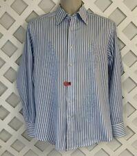 ROBERT GRAHAM Casual Dress Shirt Mens Sz M Embroidered Blue Stripe Flip Cuff