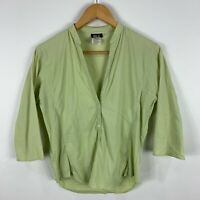 Alberto Aspesi Womens Top IT 42 AU 10 Green 3/4 Sleeve V-Neck Made In Italy