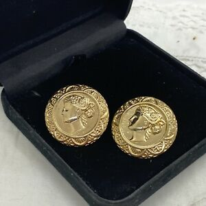 RETRO Coin Style Earrings Pierced Post Gold Tone Kitsch Round Runway Y2K Look