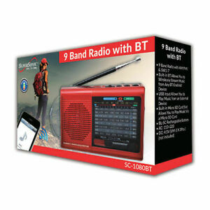Supersonic SC-1080BT 9-Band Radio with Bluetooth/USB/MicroSD-In Red NEW