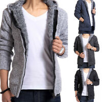 Mens Hooded Wool Knitted Zip Cardigan Casual Thicken Fleece Sweater Jacket Coat