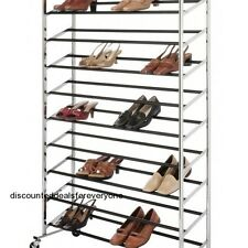 Chrome Shoe Tower 50 Pair Supreme Organizer Wheeled Rack Whitmor 6060-3510 NEW