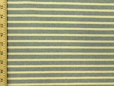 Woven beach cottage Stripe cream denim Blue cotton duck Upholstery Fabric