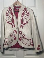 TEMPERLEY LONDON ORIGINAL LEATHER JACKET - RED & CREAM - SIZE 12