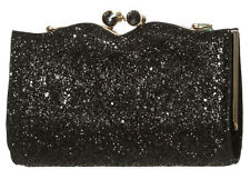 Dancing Days by Banned Rockabilly Clutch Black 50s Sparkly Glitter Party Handbag