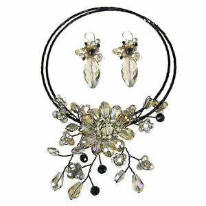 Luminous Flower Ray Smokey Crystals Jewelry Set Earrings Necklace