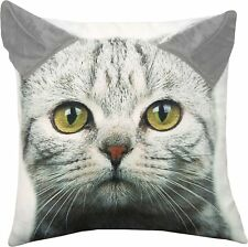 Grey Tabby Kitty Cat Printed Throw Pillow with 3D Ears 18 X 18