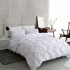 Pintuck Quilt Duvet Cover Bedding Set Single Double King Size With Pillowcases
