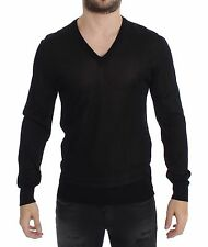 NWT $850 DOLCE & GABBANA D&G Black V-neck Rayon Sweater Pullover IT52 / US42 /XL