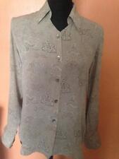 Alfani Gray 100% Silk Button Down Front Blouse Size 6