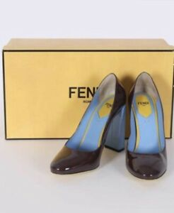 NIB 100% Authentic FENDI Eloise Block Heel Shoes Pumps s. 37 Stunning!