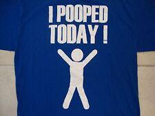 I Pooped Today! Funny Bathroom Humor Celebration Blue potty punk rock T Shirt L