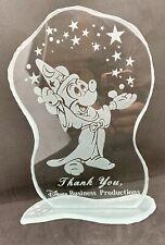 Disney Cut Glass Plaque Mickey Sorcerer apprentice Thank You Disney Business