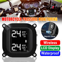 Waterproof Motorcycle TPMS LCD Display Real Time Tire Pressure Monitoring System