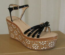 b3d1d5250c9 NEW KATE SPADE Titi Black Patent Tan Leather Platform Wedge Sandal Size 6.5   278