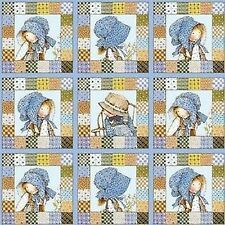 SPX Holly Hobbie 24074 BLU1 Holly Hobby Squares BTY Cotton Fabric FREE US SHIP