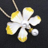 Yellow White Enamel Pearl Flower Pendant Betsey Johnson Sweater Necklace
