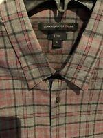 NWT $168 John Varvatos Star USA Luxe Medium Grey Plaid Long Sleeve Button Shirt