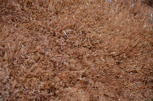 Shaggy Tinsel Rug Brown Fluffy Pile with Sparkley Silver Accent Thread BRAND NEW