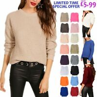 New Womens Chunky Knitted Plain Colour Baggy Jumper Ladies Oversized Sweater Top