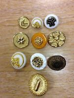 Gold metallic effect BUTTONS x5 fancy designs shank back coat bag unusual