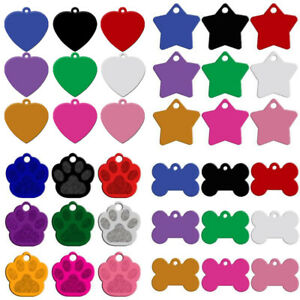 80pcs/lot Bulk Aluminum Pet Dog ID Tags No Engraving Blank Star/Bone/Paw/Heart