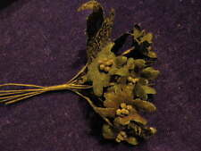 """Millinery Flower Black 1 1/2"""" Flocked 6pc Velvet for Hat Wedding + Hair Nq2b"""