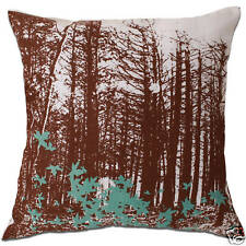 forest maple leaf brown and white cushion covers