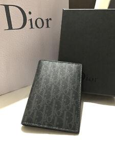 Christian Dior Card Holder Black&Grey Dior Oblique Monogram Logo New&Genuine