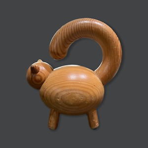 "Aarikka Finland LE Large Cat natural Wooden Figure 6"" RARE"