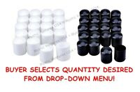 "1"" Vinyl Chair/Table Tips YOU PICK COLOR & QUANT - Black or White FREE USA SHIP"