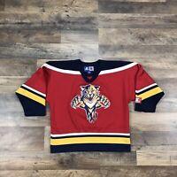 Vintage Florida Panthers NHL CCM Hockey Jersey Shirt Size Youth Large Boys Kids