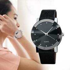 New Women Fashion Leather Band Analog Quartz Round Diamond Wrist Watch Black GA