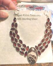 Necklace 925 Silver Red Garnet & Coconut Agate