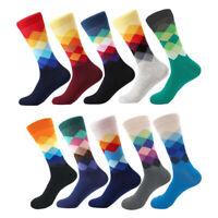 Mens Funky Design Cotton Socks Bright Rich Coloured Geometric Sport Casual Sock