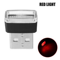 1x Red Mini USB LED Wireless Lamp Car Atmosphere Light Neon Accessories