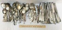 Silverplate Silverware Mixed Lot of 193 Pcs 20Lbs Arts Crafts Knife Fork Spoons