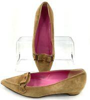 J. Crew Flat Women's Sz 7.5 Tan Pointed Toe Strap Slip On Loafer Heel Shoe Italy