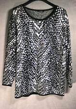 Pullover schwarz-weiß-silber Blacky Dress Gr. 46